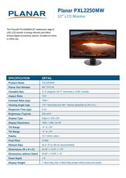 Planar Systems PXL2250MW 997-7019-00 Leaflet