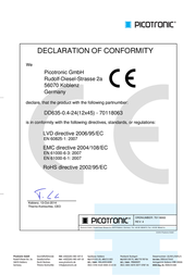 Picotronic Red N/A 70118063 Data Sheet