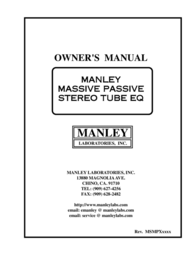Manley Labs Massive Passive Stereo Tube Equalizer User Manual