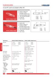 Eska Bulgin FX0385 Cable Fuse Holder For Fuses IP66 10A FX0385 Data Sheet