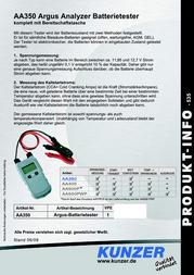 Argus Car battery tester 12 V AA350 Data Sheet