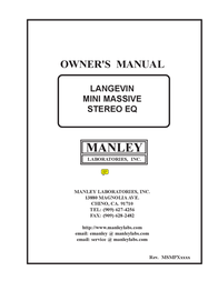 Manley Labs STEREO EQ User Manual