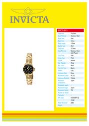 Invicta 8943 Specification Guide