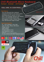 Chill Innovation KB-1BT Mini Keyboard (Nordic) KB-1BT Leaflet