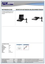 """Newstar Products NOTEBOOK-D100 Laptop Cooler 10.1"""", 11.6"""", 12.1"""", 12.5"""", 13.3"""", 14"""", 15"""", 15.4"""", 15.6"""", 16"""", 16.4"""", 17"""", NOTEBOOK-D100 Data Sheet"""