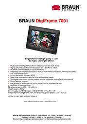 Braun Photo Technik Digiframe 7001 21160 Leaflet