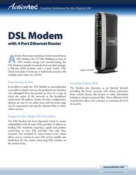 Actiontec DSL Modem 4-Port GS503AD3B-01 User Manual