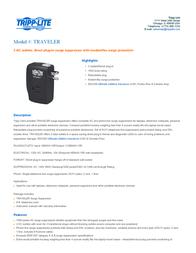 Tripp Lite TRAVELER Surge Suppressor TRAVELER User Manual
