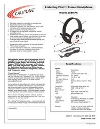 Califone 2810-PA Leaflet
