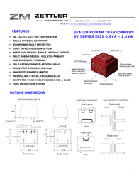Zettler Magnetics BV302D18018 - PCB Mount Transformer 2 x 18V BV302D18018 Data Sheet