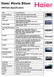 Haier MP4 player HMV101 JG0260E0100 Leaflet