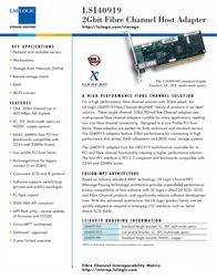 LSI 64-bit PCI Fibre Channel, Single-Channel Optical Host Bus Adapter LSI40919OB Leaflet
