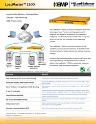 KEMP Technologies LoadMaster LM-2600 LM3-2600-P Leaflet