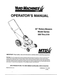 Yard Machines 500 User Manual