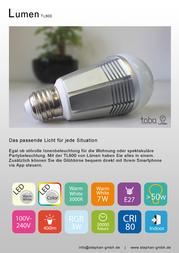 Luemen LED (RGB) 125 mm Lümen 230 V E27 7 W = 50 W Warm white, RGB ATT.CALC.EEK: n/a Pear shape dimmable, colour-changing, App- TL800 Data Sheet