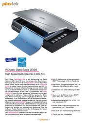 Plustek 0168 A300 A3 scanner 0168 Data Sheet