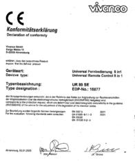 Vivanco Universal 8in1 remote control 21966 Declaration Of Conformity