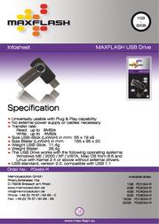 MaxFlash 1 GB USB Drive 2.0 PD1GM-R Leaflet