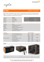 Nexus RX-8500   850Watt Modular 80PLUS Silent Power Supply RX-8500 Leaflet