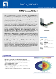 LevelOne MIMO Wireless PCI Card WNC-0500 Leaflet