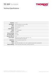 Thorens TD 309 TD 309GB 产品宣传页