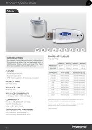Integral USB 2.0 Silver Flash Drive 1GB INFD1GBSIL Leaflet