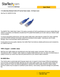StarTech.com 1 ft Cat5e Blue Molded RJ45 UTP Cat 5e Patch Cable - 1ft Patch Cord M45PATCH1BL User Manual