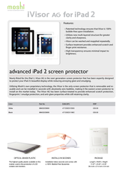 Moshi iVisor AG f/ iPad2 99MO020908 Leaflet