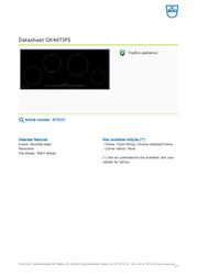 Vzug GK46TIPS 973337 Data Sheet