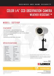 Lorex Weather Resistant* Color Night Vision Camera SG7218P Leaflet