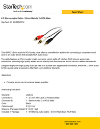 StarTech.com 6 ft Stereo Audio Cable - 3.5mm Male to 2x RCA Male MU6MMRCA Leaflet