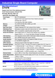 Commell Intel Core 2 Quad / Core 2 Duo Desktop Mini-ITXexpress MB LV-678 Leaflet