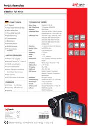 "JayTech 77007469 Digital Camcorder,1920 x 1080 pix, 1280 x 720 pix, 640 x 480 pix, 320 x 240 pix, 12 MPix, (3 ""), Blac 77007469 Data Sheet"