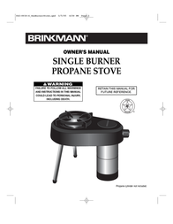 Brinkmann SINGLE BURNER PROPANE STOVE User Manual