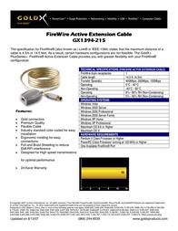 GoldX PlusSeries® FireWire® Extension Cable 14.5' GX1394-215 Leaflet
