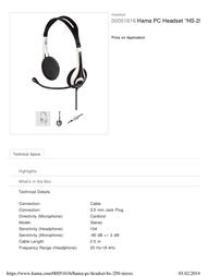 """Hama Headset """"HS-250"""" 00051616 Leaflet"""