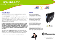 Dynamode FireWire-2 & USB2.0 E-SATA Disk Caddie USB-HD3.5-ESF Merkblatt