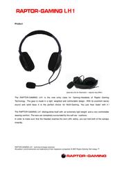 Raptor Gaming Gaming Headset LH1 100 Leaflet
