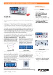 Gw Instek GPT-9601 Insulation measuring device, GPT-9601 Data Sheet