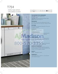 Asko T754 Product Datasheet