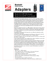 Zoom 4310BF Bluetooth Wireless  adapter 4310-00-68BF Leaflet