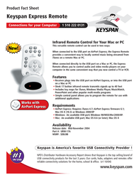 Keyspan Express Remote URM-17A Leaflet