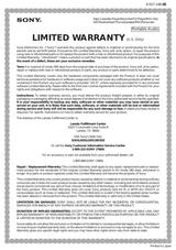 Sony DR-260USB Warranty Information