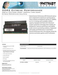 Patriot Memory DDR2 2GB (2 x 1GB) PC2-9600 Enhanced Latency DIMM Kit PVS22G9600ELK Leaflet