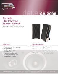 Cyber Acoustics CA-2908 Data Sheet