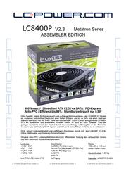 LC-Power LC8400P (80+) LC8400P Data Sheet