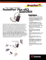Comtrol RocketPort Plus uPCI Quad DB25 99428-2 Leaflet
