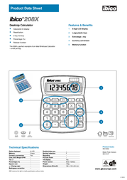 GBC Calculator 208X IB410147 Product Datasheet