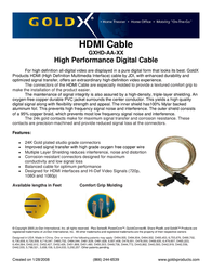 GoldX PlusSeries® Hi-Def HDMI Video Cable 6ft GXHD-AA-06 Leaflet