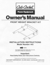 Cub Cadet 443 User Manual